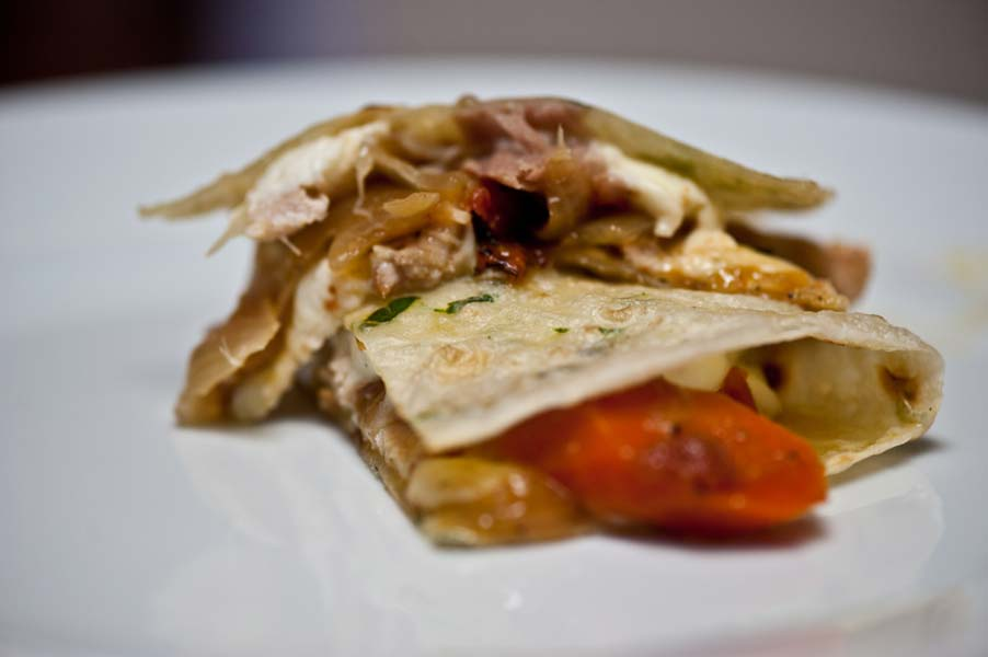 Quesadillas filled with Mexican Style Beer Stewed Shredded Chicken
