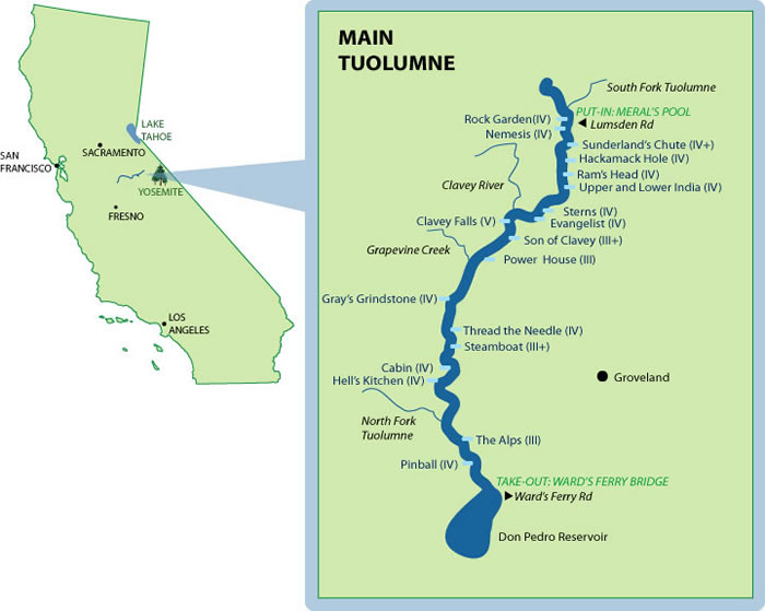 Tuolumne River Rapid Map