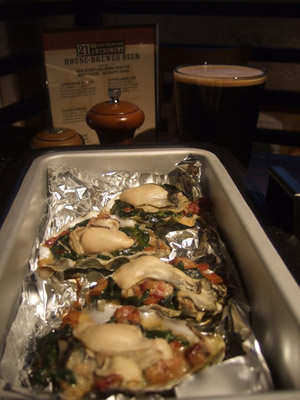 Golden Gate Oysters - Baked Oysters on a bed of Spinach, Bacon, Fennel and  Stout Cream