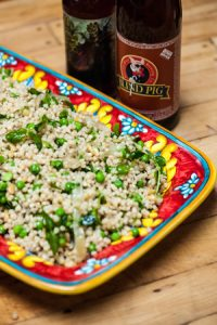 Toasted Israeli Cous Cous Salad with Spring Vegetables and IPA Dressing