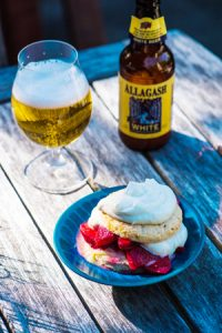 Hopped Strawberry Shortcake with Witbier Curd
