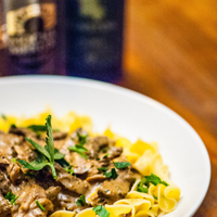 Beef Stout Stroganoff and stout